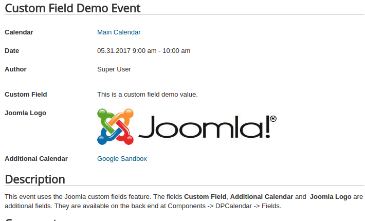 dpcalendar 6 custom fields