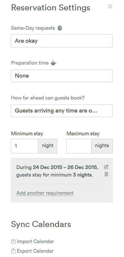 Airbnb reservation settings