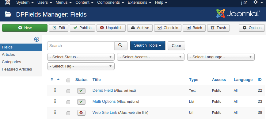 backend fields list